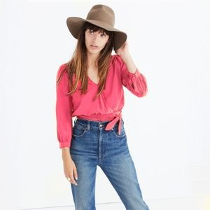 Madewell Silk Tie Front Cropped Coral Top